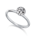 Palladium & Round Brilliant Cut Diamond (0,50ct Total) Ring