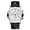 Black Leather Strap Chronograph White Face with Date