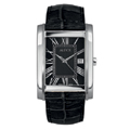 Black Leather Strap Stainless Steel Case Black Face with Date