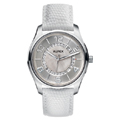 Ladies White Leather Strap Watch White Face
