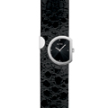 Ladies Black Leather Strap Watch Black Face with Four Diamonds