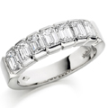 18ct White Gold & Emerald Cut Diamond Ring
