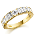 18ct Yellow Gold Brilliant & Baguette Cut Diamond Ring