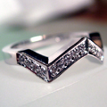 18ct White Gold Shaped Ring Pave Set
