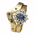 18ct Yellow Gold Shaped Ring set with Blue Sapphires & Diamonds
