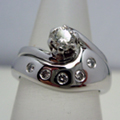 18ct White Gold & Diamond Shaped Ring