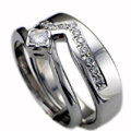18ct White Gold Shaped Wedding Ring Pave Set with Diamonds