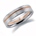 Platinum and Red Gold Gents Wedding Ring