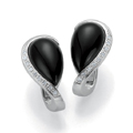 Silver, Onyx and Diamond Earrings