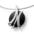 Silver, Onyx and Diamond Pendant