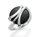 Silver, Onyx and Diamond Ring